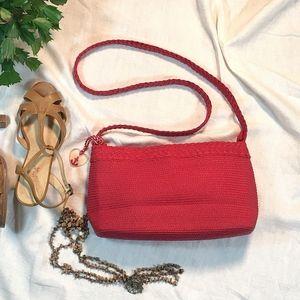 Liz Claiborne Red Woven Cloth Purse